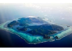 景观,鸟瞰图,岛,环礁,热带,海,海滩,法属波利尼西亚,云,山291911