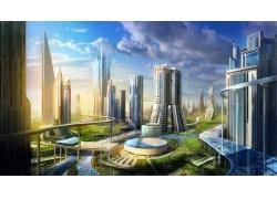 未來,建筑,景觀,市,科幻小說,市容,未來的城市53187