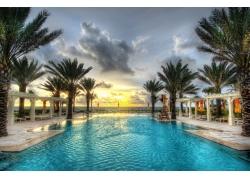 游泳池,海滩,棕榈树,海,景观,云,黄色,蓝色,绿色,佛罗里达194942