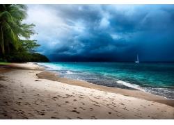 热带,棕榈树,海滩,砂,风暴,海,岛,云,马来西亚,帆船,景观194968