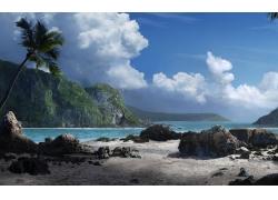 景观,棕榈树,海,热带,天空,云59111