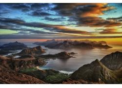 日落,岛,罗弗敦,山,挪威,云,海滩,海,夏季,景观194640