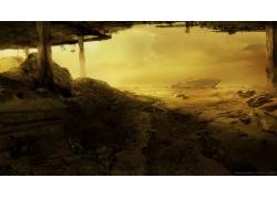 世界末日,未來,科幻小說,景觀,破壞,藝術品3115