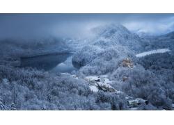 景觀,湖,山,森林,雪,冬季,城堡,建造,村,建筑,云,冷,德國,早上,陽