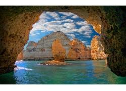 景观,洞穴,海,岛,云,葡萄牙,侵蚀,水253694