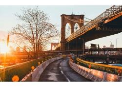 景觀,橋,陽光,路,紐約市,城市的,建筑,樹木,布魯克林大橋168742