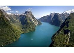 景觀,山,鳥瞰圖,水,河,云,樹木,森林,船,新西蘭,雪,米爾福德峽灣2