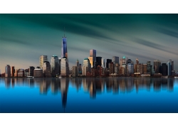 景觀,建筑,紐約市,曼哈頓,島,摩天大樓,都會,建造,反射,冷靜,海,