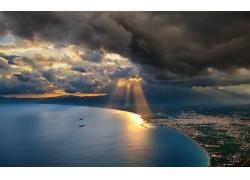 景觀,日落,太陽光線,市容,海,云,灣,天空,水,山245015
