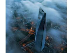 景觀,摩天大樓,藍色,上海,中國,市容,現代,建筑,城市的,都會,路燈