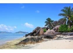 景观,塞舌尔,岛,海滩,岩,棕榈树,海,砂,山,热带,夏季,云240689