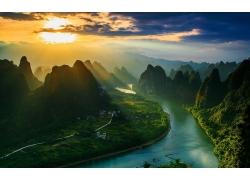 景觀,山,河,太陽光線,云,村,薄霧,中國,日落,領域,農場241610