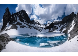 景觀,山,法國,阿爾卑斯山,湖,雪,云,冷,首腦,雪峰,冰,白色,藍色,