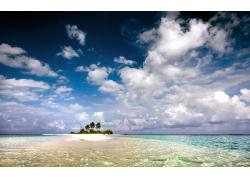 景观,水,海滩,岛,热带,棕榈树,天空,云,海17747