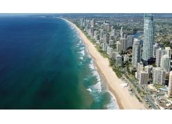 景觀,海灘,黃金海岸,澳大利亞,昆士蘭,市容,海68966