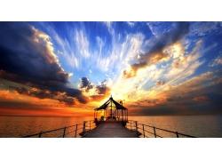 景观,天空,海,日落,码头,云,阳光,地平线24875