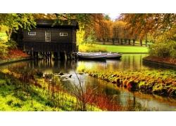 河,秋季,植物,船,景观,树木,水,绿色,屋9058