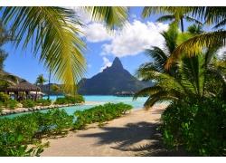 波拉波拉岛,采取,海滩,热带,法属波利尼西亚,山,棕榈树,海,夏季,