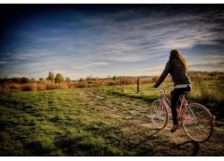 婦女,自行車,景觀,戶外的女人,天空,在戶外51474
