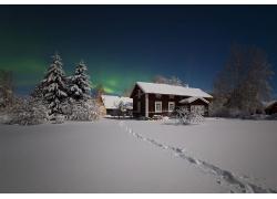 景观,冬季,雪,屋,树木,晚,灯火,极光,明星155678