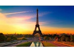 巴黎,埃菲爾鐵塔,HDR,建筑,市,日落,法國,市容,景觀,攝影,城市的,