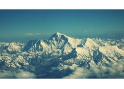 冬季,山,天空,云,景觀,雪,冷,喜馬拉雅山,尼泊爾,紙,白色,藍色,全