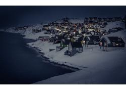 冬季,雪,海,景觀,屋,燈火,晚,市,格陵蘭,努克137992