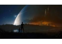 行星,科幻小說,市,景觀,太空藝術226257