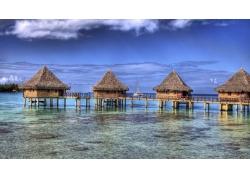 景观,采取,法属波利尼西亚,平房,海,海滩,环礁,岛,热带,夏季25796