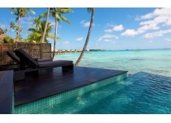 景观,采取,海滩,环礁,棕榈树,海,游泳池,热带,平房,水,夏季257973