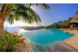 景观,采取,游泳池,棕榈树,海,热带,夏季,丘陵,假期,水,日落241679