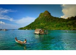 景观,岛,船,印度尼西亚,孩子,海,热带,棕榈树,森林,云,水258641