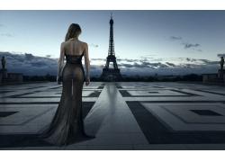 景觀,巴黎,埃菲爾鐵塔,婦女,城市的,建筑,透明度,透明的衣服,屁股