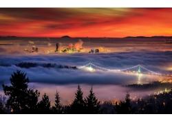 景觀,薄霧,市容,溫哥華,樹木,橋,建造,日落,燈火233195