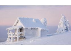 建筑,景观,树木,冬季,雪,屋,冷静,霜,木353955