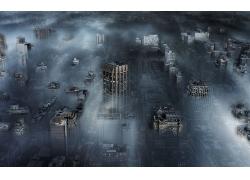 景觀,紐約市,薄霧,城市的,摩天大樓,建造,市容,藍色,建筑235842