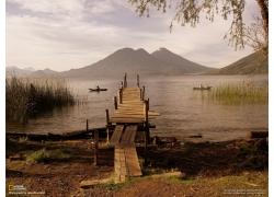 碼頭,景觀,船,危地馬拉,阿蒂特蘭湖,國家地理60794