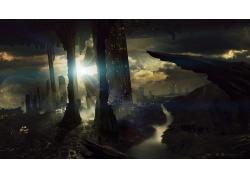 科幻小說,河,建造,景觀,太陽,未來,幻想藝術,未來的城市,數字藝術
