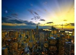 紐約市,天空,燈火,景觀135180