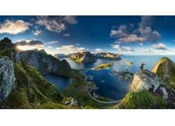 羅弗敦,挪威,島,市容,海,草,山,云,動漫,水,峽灣,景觀,湖,全景190
