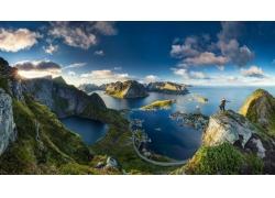 羅弗敦,挪威,島,市容,海,草,山,云,動漫,水,峽灣,景觀,湖,全景197