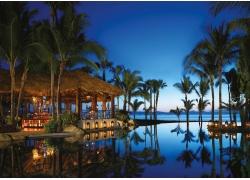 晚间,游泳池,棕榈树,采取,海,海滩,反射,人造灯,墨西哥,景观,水19