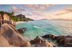 塞舌尔,岩,棕榈树,海滩,日落,热带,海,夏季,景观197833