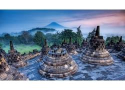 婆羅浮屠,印度尼西亞,雕像,佛教,森林,薄霧,山,草,世界遺產,景觀,