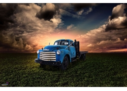 卡车,古,景观,阳光,绿色汽车443941
