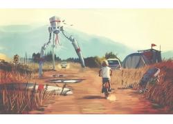 插图,未来,机器人,孩子,艺术品,景观,粉丝艺术,科幻小说,mccron,