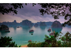 景觀,下龍灣,越南,海,船,熱帶,海灘,島,山,樹木,早上282100