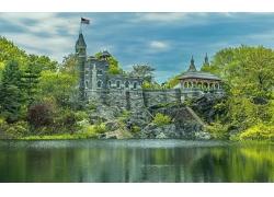 景觀,石頭,公園,紐約市,美國,建造,旗,美國國旗,樹木,巖,水,湖,云