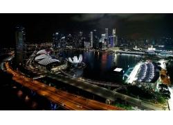 景觀,新加坡,晚,公式1,賽車,市容,摩天大樓,燈火,灣,城市的,建筑,
