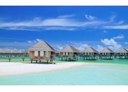 景观,夏季,平房,采取,海,热带,假期,云,马尔代夫,海滩237218